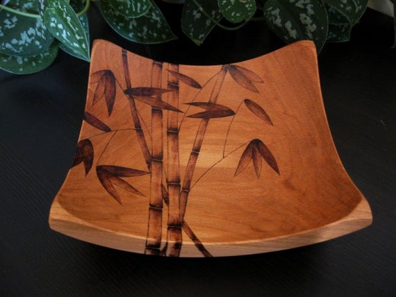 Wooden Bowl - Bamboo, Pyrography Design, Woodburned Design, Beech Wood, Made to Order