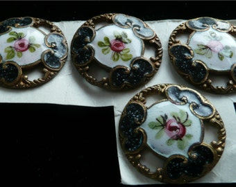 Vintage Buttons Victorian Enameled Brass Black and White with Pink Rose