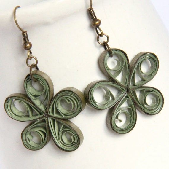 Large Green Flower Earrings Handmade Paper Quilled CLEARANCE sale 50% off