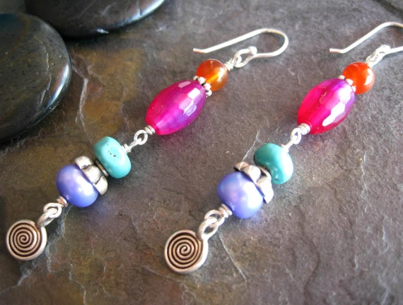 SALE Long Colorful Gemstone Dangle Earrings, Hill Tribe Silver Swirl Charms, Colorful Jewelry