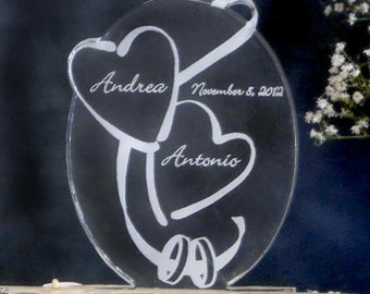 Hearts and Rings  Wedding Cake Topper  - Acrylic - Engraved - Light OPTION