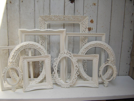 11 ornate picture frames -  Creamy cottage white painted frame collection - romantic  french country victorian