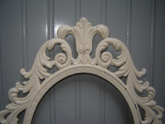 Ornate Oval Frame -  painted Creamy White and lightly distressed