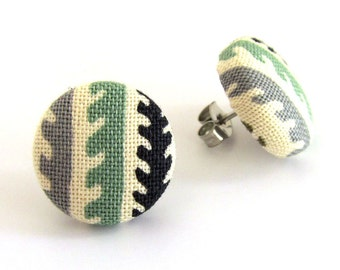 Tiny stud earrings - small button earrings - fabric covered - green beige ivory black gray grey