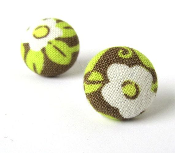 Vintage style earrings - olive green fabric earrings - tiny button earrings brown white flower swirls