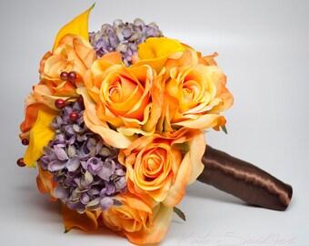 Rustic Orange Wedding Bouquet - Burnt Orange Rose Calla Lily and Lavender Hydrangea Wedding Bouquet