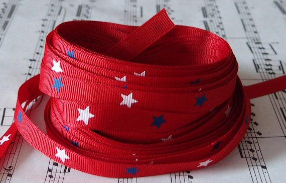 "Free Shipping - 9mm 3/8"" - 5 yards - white and Blue Stars on Red Ribbon"