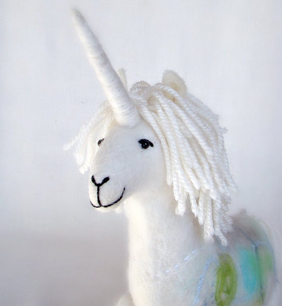 Unicorn - Art Toy Soft sculpture, Felted horse felted. Marionette Puppet, Myth animal. neutral, grey, mint. Special order for Margaret.