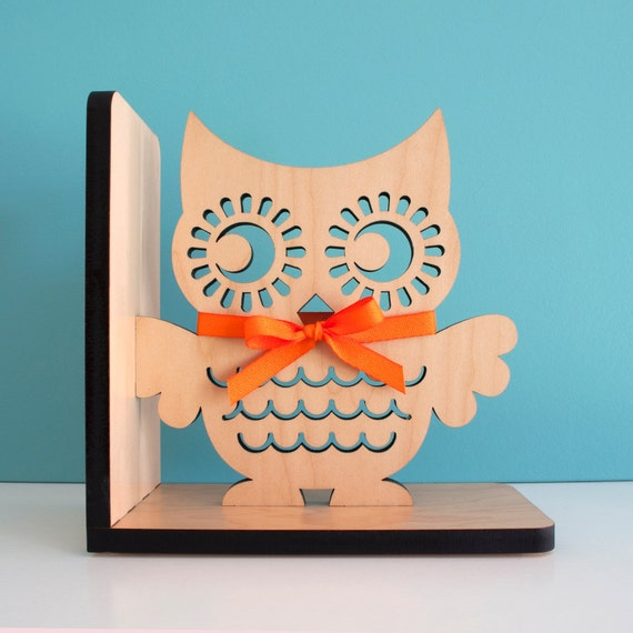 Wood Owl Bookend: Modern Baby Nursery Children