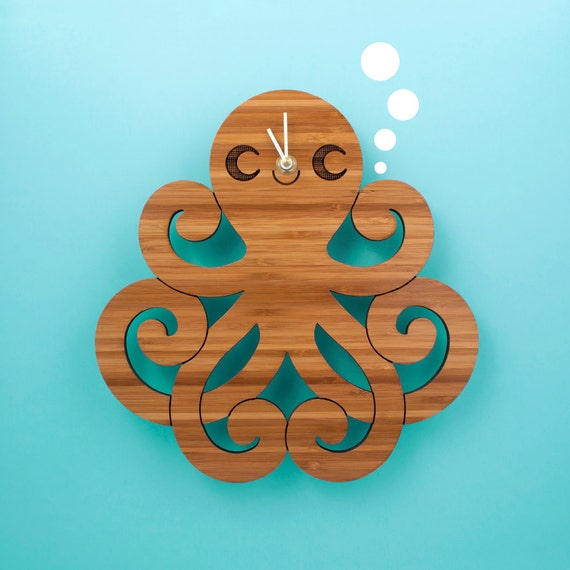 Bamboo Octopus Clock: Wood Kids Clock Ocean Nursery Baby