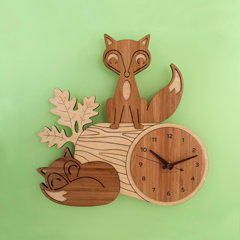 Bamboo Fox Wall Clock Wood Animal Kids Clock Woodland Nursery