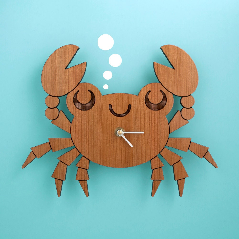 Kids clock wood crab wall clock for ocean nursery theme zoom amipublicfo Choice Image