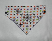 Dog/Cat/Ferret-Reversible 2 in 1 Over the Collar BANDANA. Itsy Bitsy Spider HALLOWEEN Theme.  Custom made just for YOU and your pet