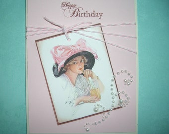 Birthday Card - Lovely Vintage Lady - Envelope and Sticker Seal Included -  Handmade