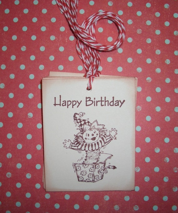 Birthday Tags - Jack in the Box Happy Birthday - Wish Tree Tags - Wish Cards - Party Decorations - Set of Six