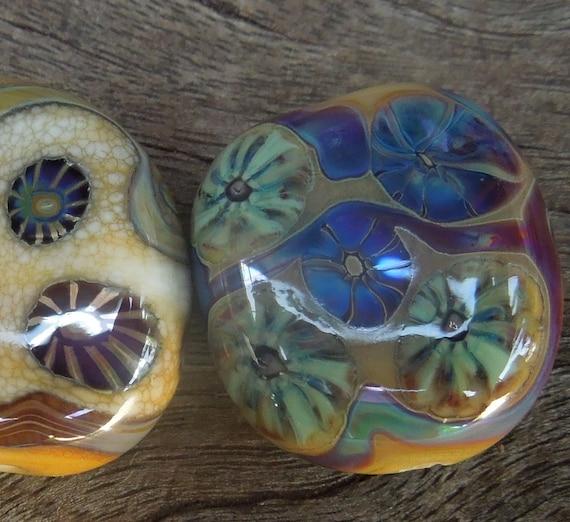 Destash...Handmade lampwork glass beads 3 small focal beads  Murrini beads Silver glass. SRA  Made in Australia