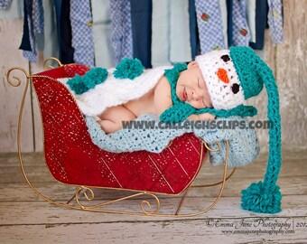 Instant Download Crochet Pattern - no 43 Snowman - Cuddle Cape Set  -Photography Prop