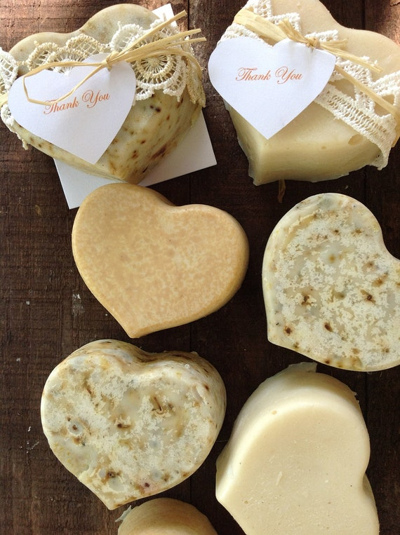 50  Wedding Favors -  Full size Organic Soaps - Eco friendly, Natural, Heart Soaps
