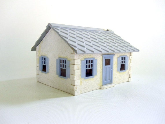 Mid Century Toy Cottage - Little Blue Village House - Pale Pastel Blue and White Cabin