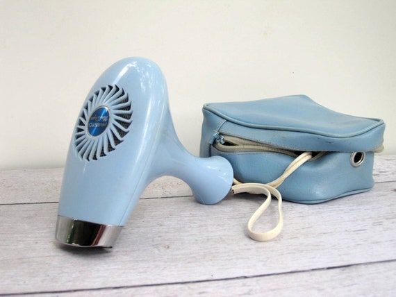 Retro Travel Hair Dryer - Pastel Blue Mini Dryer with Carrying Case - Working Condition