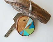 wood keychain with stainless  cable wire option plus initial on other side,  blue, olive, turquoise and mint geometric triangle keyring
