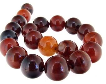 Rare Big 20mm Round Agate Gemstone Beads One Strand