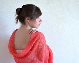 Scarf Coral Pink Scarf Linen Knitted Shawl Sheer Lace Stole For Bridesmaid Gauze Linen Scarf