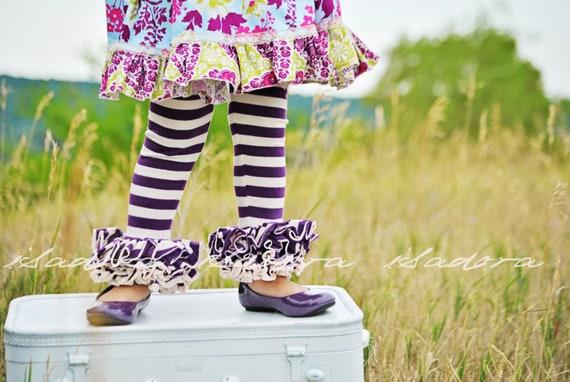 Purple and off white Stripe Ruffle Leggings