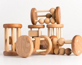 Three Wooden Rattle Set (Developmental, Montessori, Natural, Wooden Toys)
