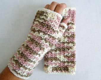 Crochet Fingerless Wrist Warmer  Neapolitan