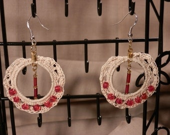 Crocheted Hoops with Red Glass Beads