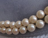 Beautiful Vintage Double Long Strand Knotted Pearl Necklace
