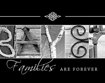 Personalized Family Name Sign - Alphabet Photography - Black and White Print- 10x20 Unframed