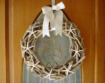 Driftwood and Starfish Wreath - Coastal Wreath - Customize