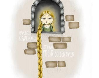 Rapunzel Illustration - 5x7 Print