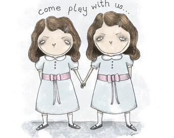 The Shining Creepy Girls - 5x7 Illustration Print