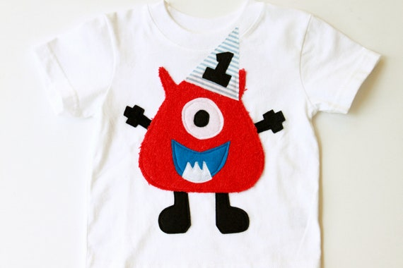 Monster birthday shirt, 1, 2, 3, 4 onesie, boy, red, photo prop