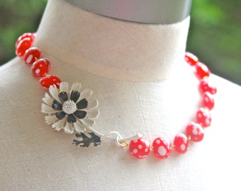 Vintage Black and White Enamel Flower Pendant Cherry Red and White Polka Dot Glass Bead Necklace - Christmas, Holiday,Wedding, Beach