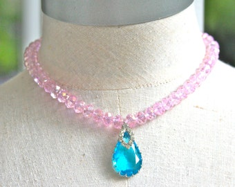 Pink Swarovski Crystal Glass Aqua Blue Pear Shape Rhinestone Necklace One of a kind  Statement Necklace Bridesmaids Bridal Necklace