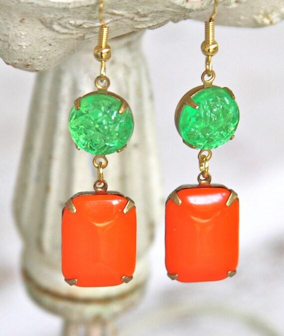Vintage Tangerine Orange Rectangle Glass and Lime green Textured Glass Brass Drop Dangle Earrings - Bridesmaid,Wedding, Halloween