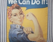Rosie The Riveter Tote Bag Handmade Blue Striped Ticking Fabric  Free Shipping