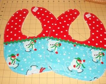 Set of 2 Holiday Snowman Baby Bibs