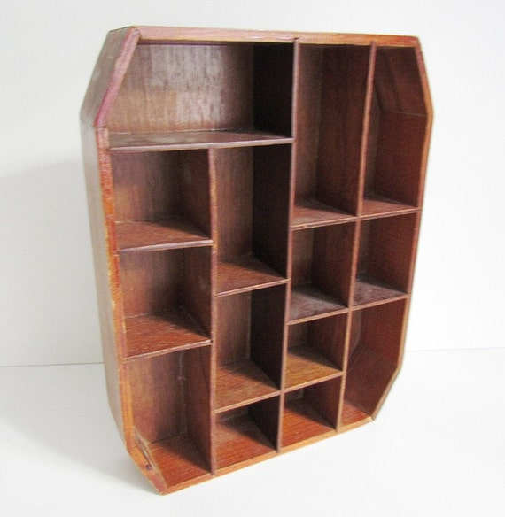 Vintage 8 Sided Display Case Wooden Wall Mount Shelf 14 Nooks
