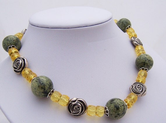 Serpentine and Citrine Necklace Gemstone Necklace by ...  Serpentine and ...