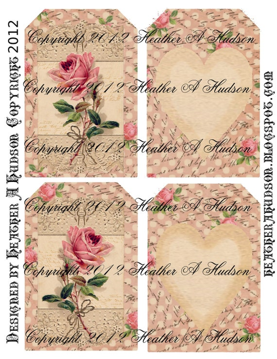 Pink Shabby Vintage  Roses Digital Collage tags