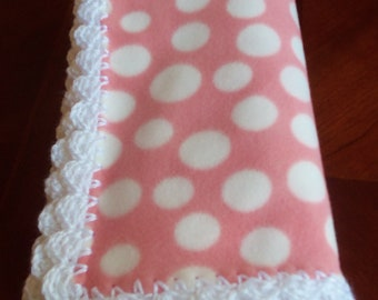 Baby Blanket - Pink Fleece with Polk A Dots and White Crochet Edge