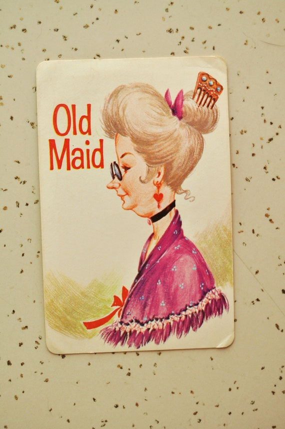 Vintage Game Old Maid Playing Cards Complete Set with Plastic Case 50s 60s Era