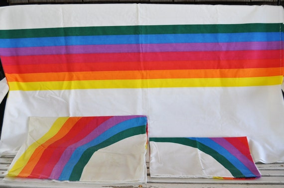 70s Rainbow Vintage Bed Linens Twin Flat Sheet And Two