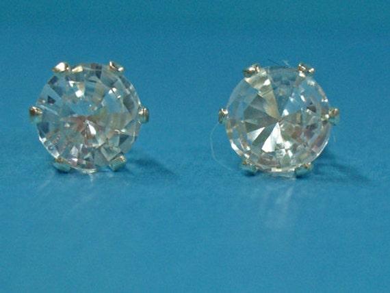 Sapphire Earrings -  White Sapphire Sterling Silver Post Earrings - Sapphire Post Earrings