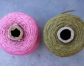 Vintage Yarn - pink and olive - 2 spools